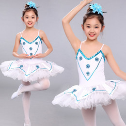 White Girls Sequined Leotard Dancewear Ballet Tutu dress Gymnastics Dance Dress Kids Performance Party Costume Outfits