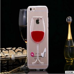 Brooch Clear TPU Moving Water Floating Tall Red Wine Beer Mug Whisky Bottle Mobile Phone Case Cover For iPhone 6  Plus
