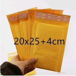 Compra Online Burbuja de papel kraft-La venta caliente 200m m X 250m m + 40m m PE empaquetó el envío libre del embalaje del amarillo del bolso del sobre del correo de Kraft Envío libre