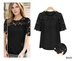 Summer Sexy Blouse Lace Shirts Tops For Women Big Size XXXXL women large size short sleeved Chiffon embroidered T-shirt