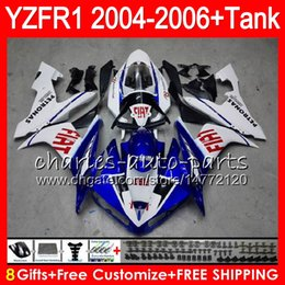 8Gift 23Color Body For YAMAHA YZF R 1 YZF 1000 YZFR1 04 05 06 58HM23 blue white YZF-R1000 YZF-R1 YZF1000 YZF R1 2004 2005 2006 Fairing kit