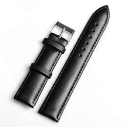 Promotion bracelet en cuir véritable Wholesale-Retail-- High Quality1PC 20MM bracelet en cuir véritable étanche sangles bande lisse surface de la montre noire