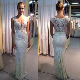 Reception Sheath Deep V-neck Wedding Dresses Lace Sexy Illusion Bridal Gowns Beach Summer Vestido De Noiva Com Renda