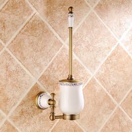Wholesale Antique Bronze Brush Holder Gold Plated Solid Brass Toilet Hanger Bathroom Brush Holder Set And Accessories