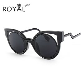 Acheter en ligne Fille chat cru-Vente en gros-ROYAL GIRL Nouveau style de luxe designer classique Cat yeux lunettes de soleil femmes Vintage Lunettes de soleil ronde Gafas de sol ss540