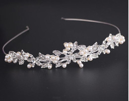 Wedding Bridal Crystal Rhinestone Beige Pearl Beaded Hair Accessories Headband Band Crown Tiara Ribbon Headpiece Jewelry Set Jewellery Sets