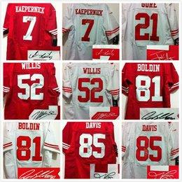 Wholesale Signed jersey Colin Kaepernick Frank Gore Patrick Willis Anquan Boldin Vernon Davis elite football jerseys sewing Name Logo