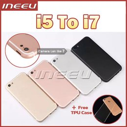Wholesale Housing Cover For iPhone Like Aluminum Metal Back Case Housing Battery Door Cover Replacement Like i7 style mini Jet Black
