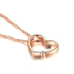Top 925 sterling silver items crystal jewelry heart diamond shaped pendant statement necklaces rose gold color