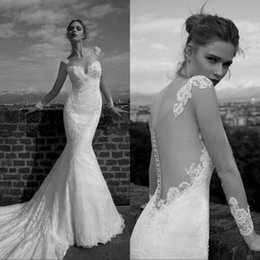 Promotion manches longues boutons robe backless de mariage 2017 Sheer Tulle Backless Lace Mermaid Robes de mariée Illusion Long Sleeve Applique Beads Robe de mariée en robe de mariage en robe de mariée Robes de mariée