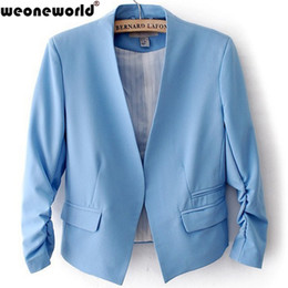 Wholesale Coats For Women Korea - WEONEWORLD 2016 Summer Spring Korea Women Candy Color Solid Slim Three Quarter Sleeve Suit Jacket Blazer Coats For Female S-XL