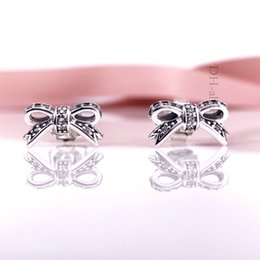 Hotsell Authentic 925 Sterling Silve Women Earring Sparkling Bow Clear CZ Stud Earrings Compatible European Style Jewelry 290555CZ