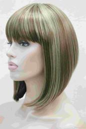 2017 new fashion health Super Cute fashion cute BOB Brown mixed short straight women's full wig