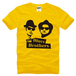Wholesale New Summer The Blues Brothers T Shirts Men Cotton Short Sleeve Jake and Elwood Men s T Shirt Fashion Film Music Male Tops Tees Big Size