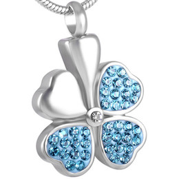 IJD8533 Four Leaf Clover Shamrock 316L Stainless steel Cremation Jewelry For ashes pendants memorial urn jewelry