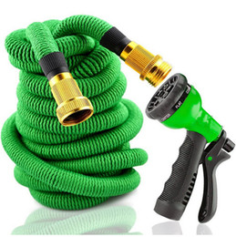25FT Garden Watering Hose Expandable Flexible Pipe With Spray Top Quality Natural Latex 50FT 75FT 100FT Washing Car Pet Hoses EU US Versions