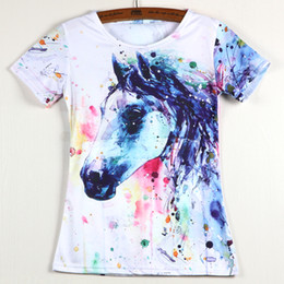 Wholesale Hot Sale New Summer Fashion Women T Shirts Short Sleeve T shirts Eagle Feather Flower Horse Cat Design Woman T shirt Casual Tops
