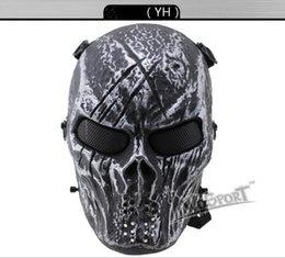 Proteger a paintball en Línea-H2887015 CS Cráneo Esqueleto Full Face Tactical Paintball Proteger Seguridad Terror Máscara Halloween Cosplay Vestido Máscara Jagged horror accesorios