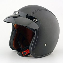 Wholesale support New Quality Leather Motorcycle Helmet Retro Motocross Motos Helmets Capacete For Men And Women Fashion helmet