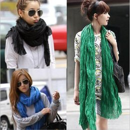 Wholesale Women Voile Solid Color Scarf Fashion Neckerchief Summer Neck Shawl Wrap Beach Silk Scarves Stole Bandana HeadScarf Pashmina Sarong A770