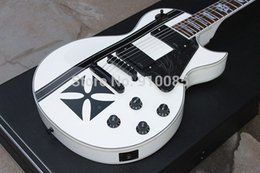 Wholesale Custom LTD Iron Cross SW James Hetfield Signature Snow White Electric Guitar Active EMG Pickups Black Hardware