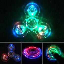 Tri-Spinner Crystal Clear LED Light Hand Finger Fidget Spinner Toy,12 Led Bulbs and 3 Lighting Model High-Speed EDC Focus Toy for Kids Adult