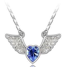 Acheter en ligne Anges ailes-Europe et Amérique bijoux de mode style coréen Autriche ange cristal ange collier pendentif 2016 bijoux féminin prix de gros 30 pcs / lot