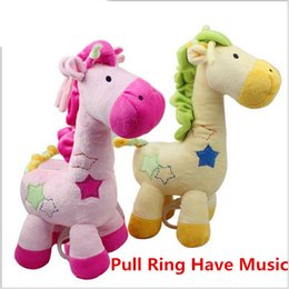 Wholesale 2017 New Baby Giraffe Plush Toys Pull Ring Have Music Cute Kids Plush Toys Christmas Birthday Gift cm cm Pink Yellow