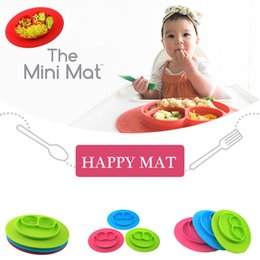 Wholesale Baby Happy Mat Placemats Kids Happy Mat Bowls Feeding Silicone Placemat Min Eat Meal Plate Tableware Baby Learning Silicone Dishes F21