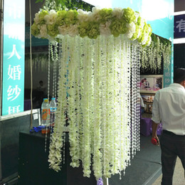 White Artificial Orchid Wisteria Vine Flower 1 Meter Long Silk Wreaths For Wedding Backdrop Decoration Shooting Props 10pcs lot