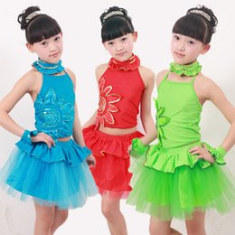 Green Blue Children's Sequined Modern dancing dress Girl's Ballroom Performance Party dance wear Costumes Girls Ballet tutu dress