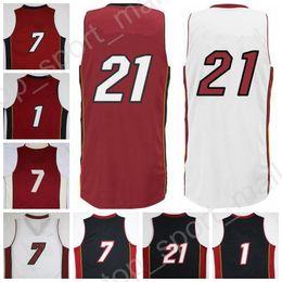 Top Quality 21 Hassan Whiteside Jersey Men Throwback 1 Chris Bosh 7 Goran Dragic Basketball Jerseys Team Black Red White with player name