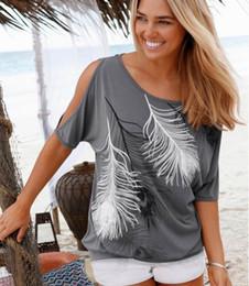 Compra Online Tipos de pantalones cortos para las mujeres-Las mujeres al por mayor-Nuevas de la manera imprimieron las camisas sin tirantes de las camisetas del hombro de la camiseta short-sleeved Tipo flojo tapas 003 de las señoras