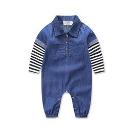 Acheter en ligne Bébé cowboy vêtements-2017 été commerce extérieur explosion insian fragmentaire rayé à manches longues cowboy bébé vêtements d'été