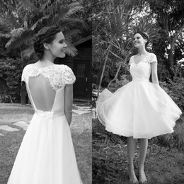 Spring Country Knee Length Wedding Dresses Short Beach V Neck Sheer Lace Capped Sleeves Sexy Open Back Cheap Bridal Gowns with Sash Bow