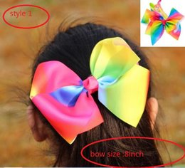 Wholesale 10style available JOJO SIWA inch LARGE Rainbow Signature HAIR BOW wich clip baby girl Children Hair Accessories fashion hair clip