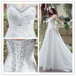 Wholesale Modest Plus Size Applique Crystal Design Wedding Dresses Bohemian Sweetheart Sleeveless Lace up Chapel Train Backless Bridal Gown