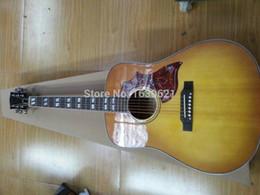 Guitare désert personnalisé en Ligne-Custom Hummingbird Desert Honey Sunburst Guitare électrique acoustique, Split Parallélogramme Inlay Fingerboard, Red Turtle Pickguard Haut de la page