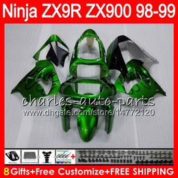 8Gifts 23Colors For KAWASAKI NINJA ZX900 ZX9R 98 99 00 01 900CC 48HM22 black green ZX-9R ZX 9 R ZX900C ZX 9R 1998 1999 2000 2001 Fairing kit