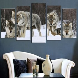 4pcs set Modern Oil Painting (No Frame) Wolves Animal Canvas Giclee Wall Art pictures for Living Room Home Office Decor(Size:2 sizes)