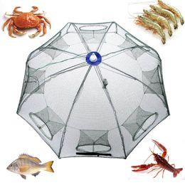 Wholesale 93 cm Automatic Fishing Net Shrimp Cage Nylon Foldable Crab Fish Trap Cast Net Holes Large Cast Fishing Network