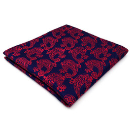 MH15 Handkerchief Paisley Blue Burgundy Red Pocket Square Mens Ties Silk Jacquard Woven Hanky