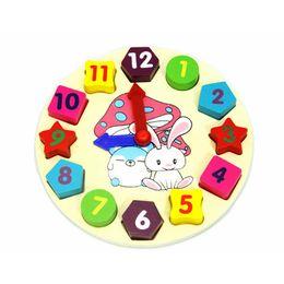 Descuento reloj digital de la geometría Venta al por mayor-Nuevo bebé educativo de dibujos animados de dibujos animados de madera digital de bloques de juguetes de reloj de geometría digital de niños niños modelos de construcción de regalos de juguete bloques