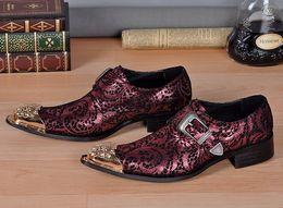 Promotion chaussures robe de moine Christia Bella Chaussures habillées pour hommes Chaussures en cuir véritable Chaussure rouge Oxford Chaussures pour hommes Business Wedding Monk