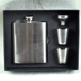 7oz Hip Flask+2pcs 1oz Wine Cup + Funnel set Portable Stainless Steel Flagon Wine Bottle Gift Box Pocket Flask Russian Flagon