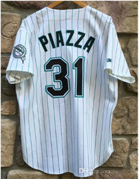 Mens Florida white 1998 #31 Mike Piazza Throwback Cooperstown baseball Jersey S-4XL