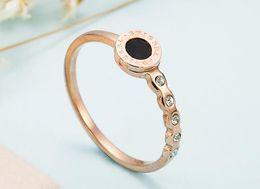 Free Shipping Fashion Designer Black Seashell Romen Number Stainless Steel Crystal Band Ring Rose Ring for Women
