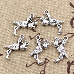 Wholesale Cents Charms stork baby bird mm Antique Making pendant fit Vintage Tibetan Silver DIY bracelet necklace