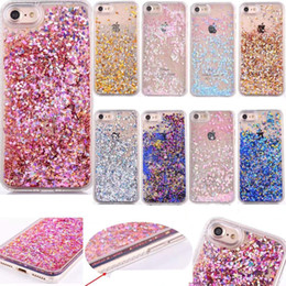 Quicksand Bling Star Back Cover For iPhone 7 Plus 6 6S Heart Sparkle Bling Diamond Powder Liquid Glitter Hard Plastic+TPU Floating Case Skin