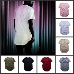 Wholesale Hot Sell Pure Color T shirt Men fashion Extended Long T shirt Mens Hip Hop New Design Street Men Cheap Short Sleeve T shirt Color